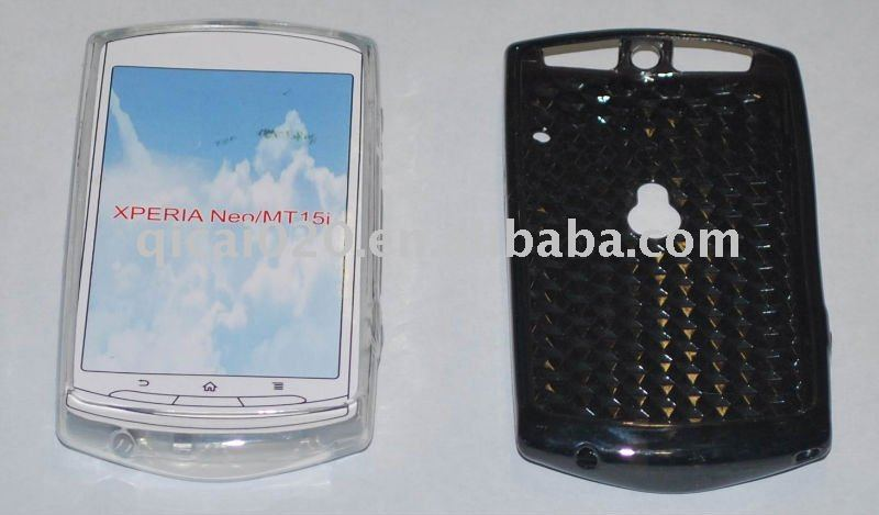 Mobile phone plastic case/TPU Case With diamond veins for XPERIA Neo /MT15i