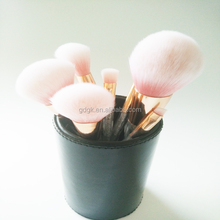 pink metal handle soft synthetic hair makeup brush set with diamond