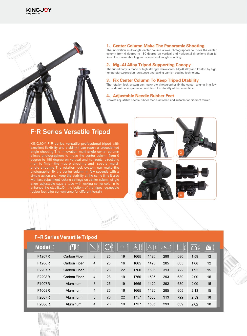 Kingjoy 4 section carbon fiber professionalTransverse column tripod with level bubble for dslr photo F1208R
