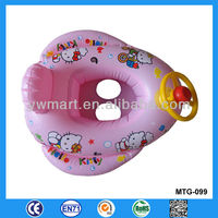 Steering wheel decoration plastic PVC hello kitty inflatable swimming ring with baby seat and