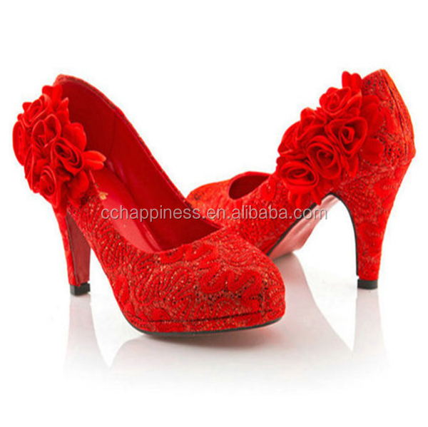 Red Lace Rose Flower Round Head High Heel Wedding Dress Bridal Shoes