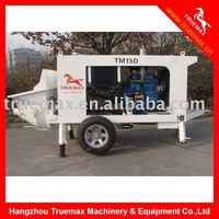 Stationary trailer mounted concrete pump