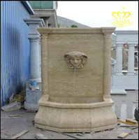 outdoor garden decorate Beige Marble Stone Wall Waterfall Fountain Medusa Head for sale