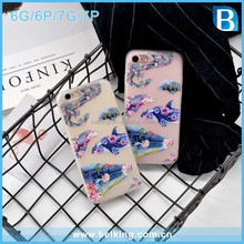 For iPhone 7 7+ 3D Whale Relief Phone Case Sublimation Soft TPU Rubber Gel Protective Back Case