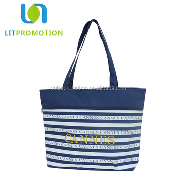 2018 new design blue white striped city name souvenir beach bag