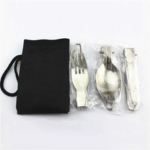 Outdoor Flatware Set Stainless Steel Camping Folding Spoon Fork Knife Cutlery Set