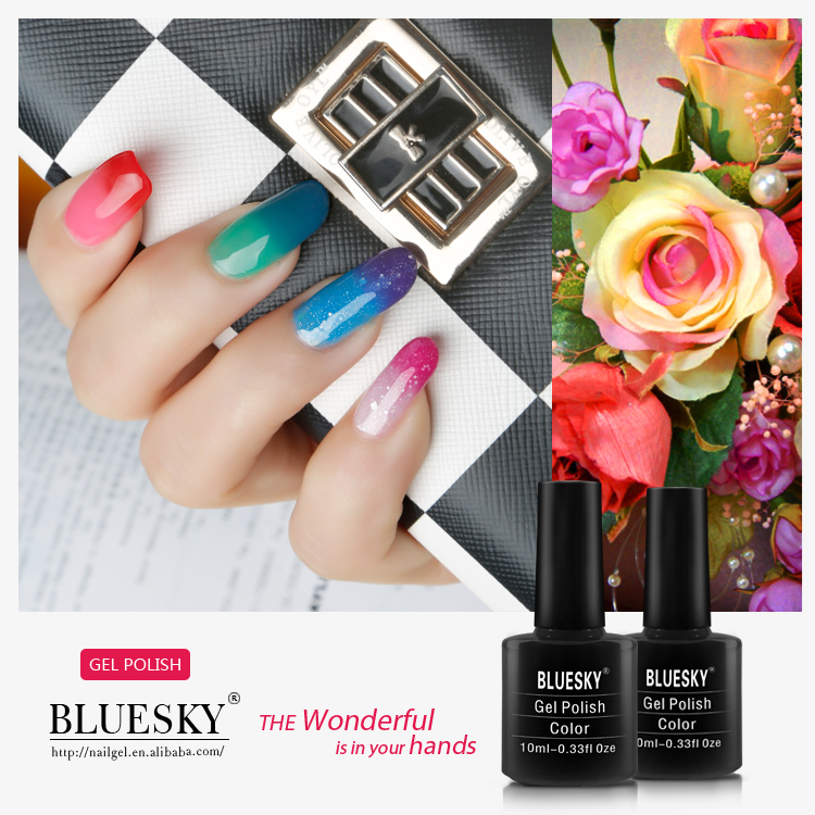 Bluesky changing color gel nails,free sample uv gel nail polish