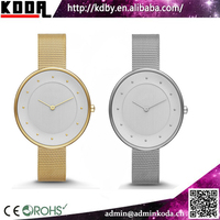 Koda watch oversize dial thin stainless steel case mesh band womens dress watch