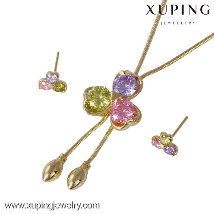 61158-xuping fashion dubai gold jewelry <strong>set</strong> latest beautiful cheap flower jewelry <strong>sets</strong>