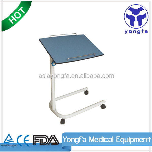YFT-007 Mordern design compact board top, metal frame over bed table with wheels