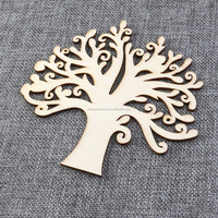Blank Wooden Tree Embellishments for DIY Crafts - 10pcs