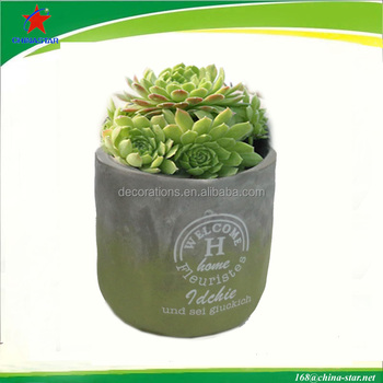 green colored with carved letters Light Cement Planter