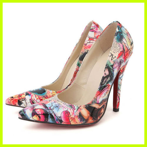 S4051 2013 newe stylish pointed high heels fashion flower printed sole shoes patent leather women shoes sexy nightclub pumps