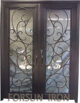 Residential forged iron doors, house wrought iron front door, home forged iron door