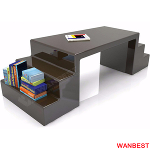 Modern Acrylic Home Office Desk Executive Manager Computer Table with Bookshelf