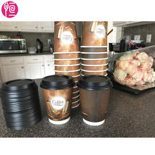 12oz Double Wall Take Away Paper Cups for Coffee with Straw and Lid