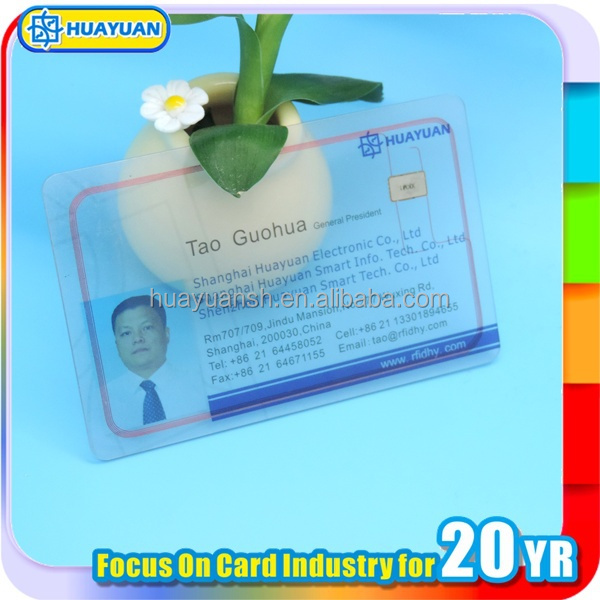 MIFARE Classic 1K NFC contactless chip business plastic clear card