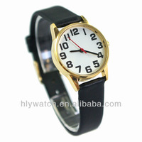 2014 China Cheap Promotional Vogue Big Numaral Leather Strap Lady Watch