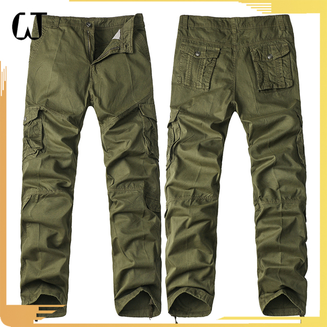 F9001#2017 New Arrivals Outdoors Cotton Multi Pockets Men Cargo Chino Long Pants Trouser With Camouflage Fabric