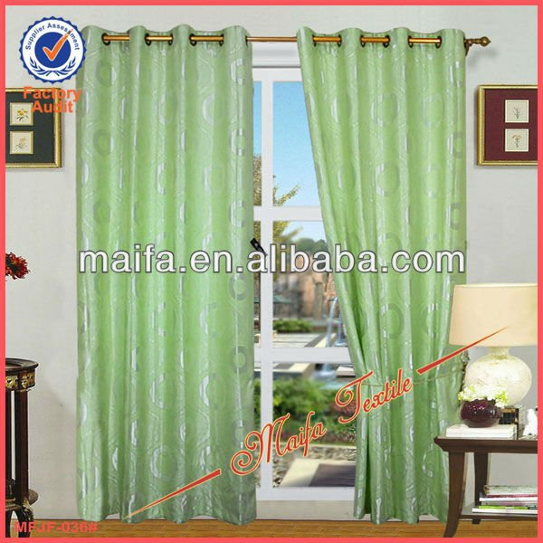 Green Jacquard Gromet Ready Made Curtain And Drapery