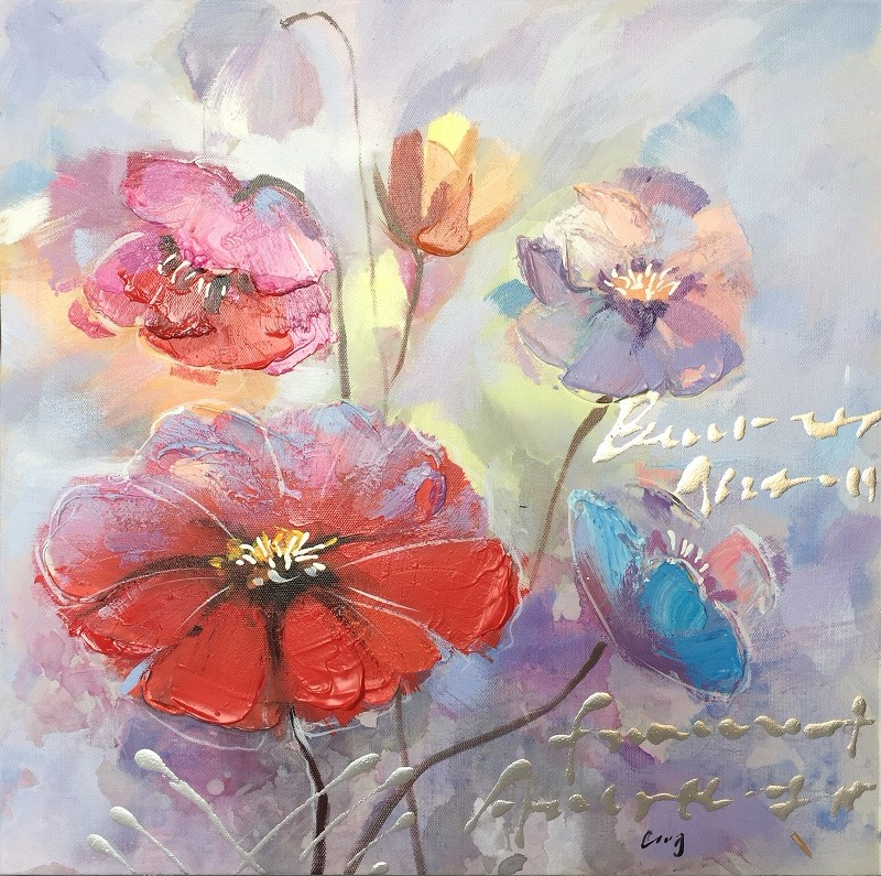 DEC007 Factory Price Flower Home Goods Wall Art Canvas Oil Painting