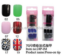 Fashion Adhesive French Artificial Nail Tips design type 24P-IM