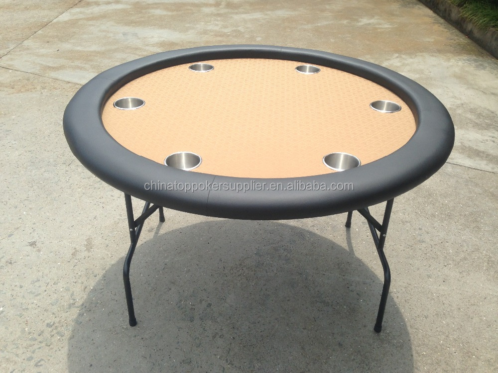 48inch metal folding legs round poker table with 6pcs cup holders