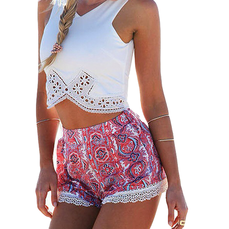 2015 Fashion Sleeveless V Neck Summer Sexy Women White Tops Jumpsuit Casual Crop Tops+Sexy Shorts Slip Print White Lace Playsuit