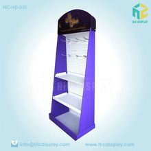 Paper material display rack with hooks for cell phone acessories