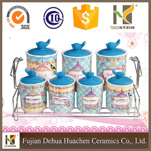 7PCS Inventory ceramic canister with stand wholesale cheap canister set