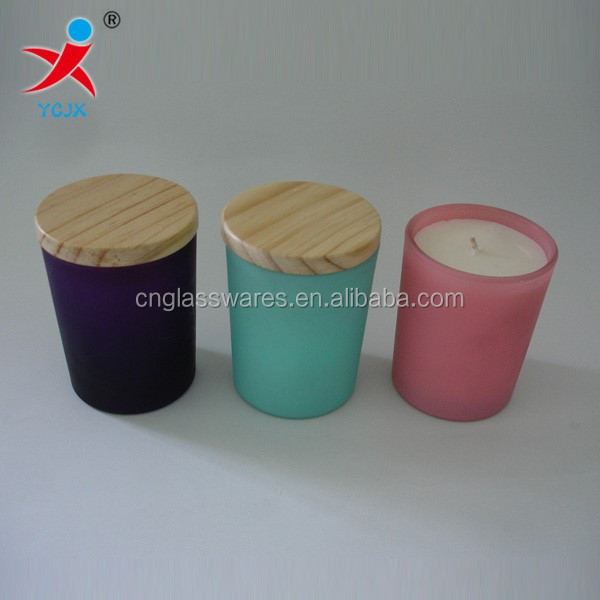 hotsale frosted painted glass votive scent candle jar holders wholesale / candle glass with wood lids