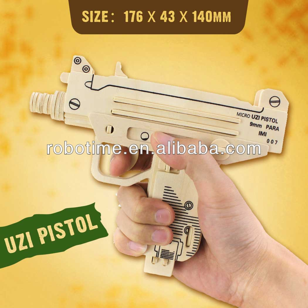 ROBOTIME 3D Educational Wooden Toy Gun Puzzle UZI gun