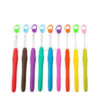 Premium Aluminum Crochet Hook Set , 9 pcs ergonomic crochet hooks with rainbow colors