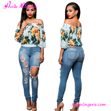 2017 Ladies Fashion New Off Shoulder Latest Design Summer Tops