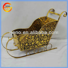 Golden Metal Sleigh Luxury Christmas Decorations