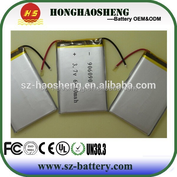 Low selfdischarge high capacity li-polymer 906090 3.7v batteries 6Ah for power bank etc