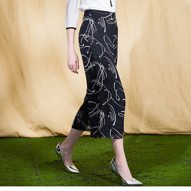MaxNegio 2018 Ladies Casual Summer Printing Women Wide Leg Trousers Camouflage Pants Chinese
