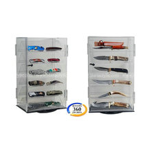 Rotating Acrylic Knife Display Case, Acrylic Car Module Display Cabinet with revolving base, Lockable Acrylic Storage Case