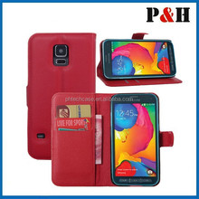 High quality PU flip folio leather wallet stand case for Samsung Galaxy S5