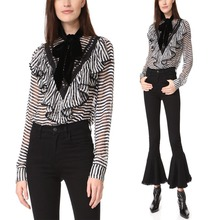 Clothes Women Long Sleeve Tie Neck Blouse Sexy Women See Through Blouses