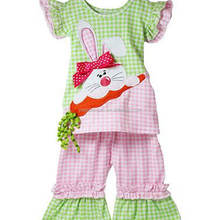 Latest cotton Easter Day ruffle rabbit bunny girl clothing outfits
