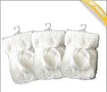 China factory 100x75cm microfiber fleece reverse swaddle muslin baby blanket with white sherpa