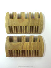 Mustache & beard green sandalwood wooden comb wholesale