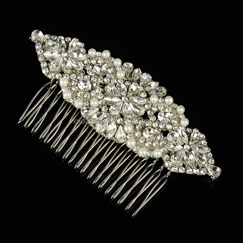 Handmade Vintage Silver Floral Bridal Hair Accessories Wedding Tiara Crystal Women Party Jewelry Hair Comb