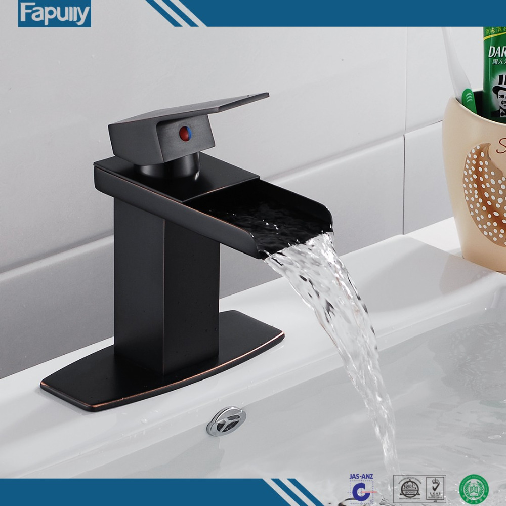Fapully unique sanitaryware basin Waterfall bathroom faucet Oil Rubbed Bronze Black Vessel Faucet
