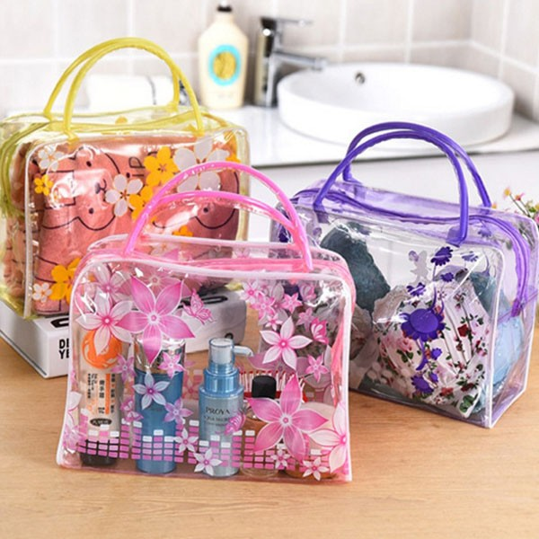 Fashional Waterproof PVC Transparent Zipper toiletry Bag Printing Flowers