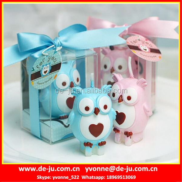 PVC Box Gift Pink Blue Small Owl Custom Shaped Candles