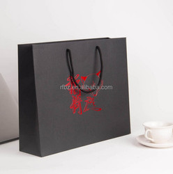 2016 recycled 250g stock black paper shopping bag