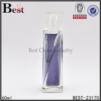 60ml curved glass bottle square shape special design curved glass bottle for perfume