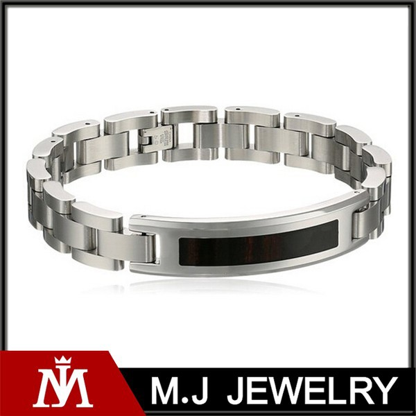 men's stainless steel wood inlay identification bracelet
